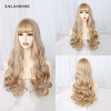 Длинный волнистый парик Dalaohome с челкой, коричневые синтетические натуральные парики для женщин, прямые волосы с эффектом омбре, светлый пар...