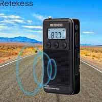 Retekess TR103 Pocket Mini Radio portátil FM/MW/SW sintonización Digital Radio 9/10Khz MP3 reproductor de música con batería recargable