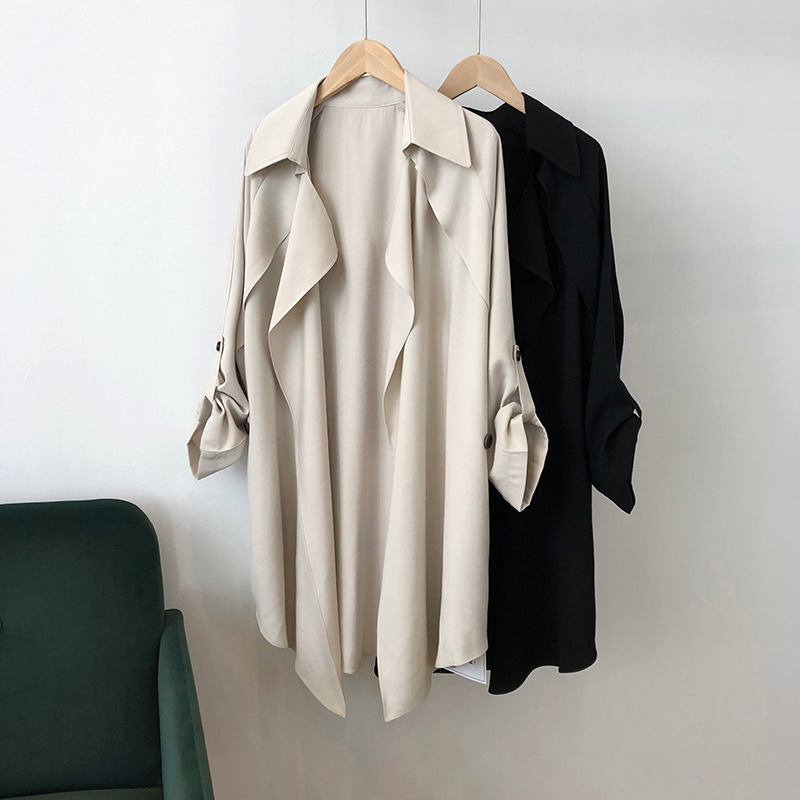 Autumn Women Belt   Trench   Coats 2019 fashion Casual women's Black   Trench   Coat long Outerwear loose lady clothes with belt H2002