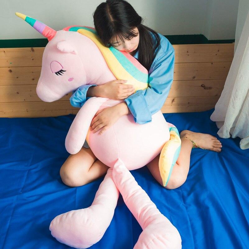 [Top] Große größe 150cm Sehr nette weiche einhorn pferd plüsch spielzeug schlaf puppe Halten kissen Hause dekoration Mädchen Geburtstag Geschenk - 2