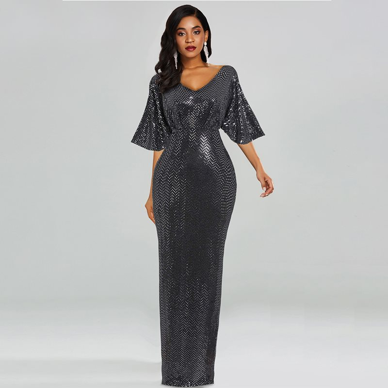 Woman Glitter Dress For Party Evening Dinner Half Sleeve Plus Size 3XL Bodycon V Neck Club Elegant Ladies Sequin Long Maxi Dress