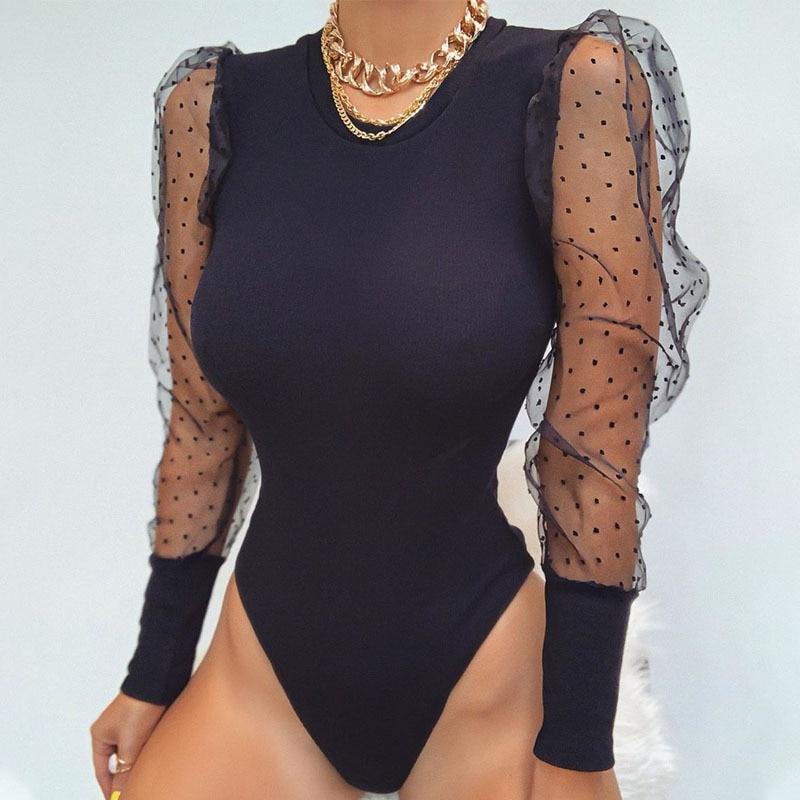 2020 New Lace Puff Sleeve Women's Bodysuit Autumn Polka Dot Vintage Bodycon Jumpsuit Tops Skinny Mesh Rompers Ladies