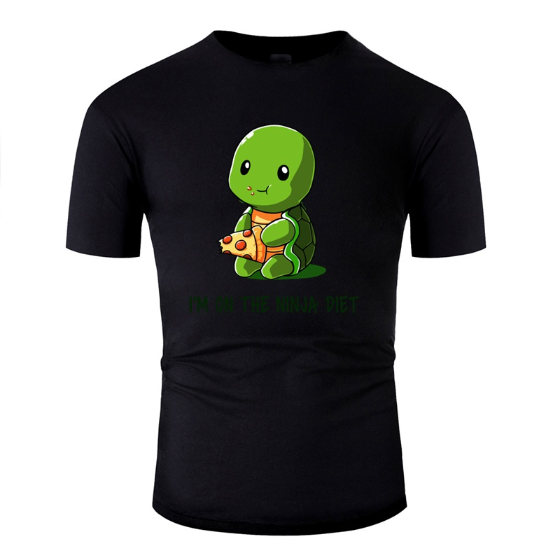 Print Awesome Ninja Diet Green T Shirt Man 100% Cotton Classic Tshirt For Mens Streetwear Oversize S-5xl Hip Hop image