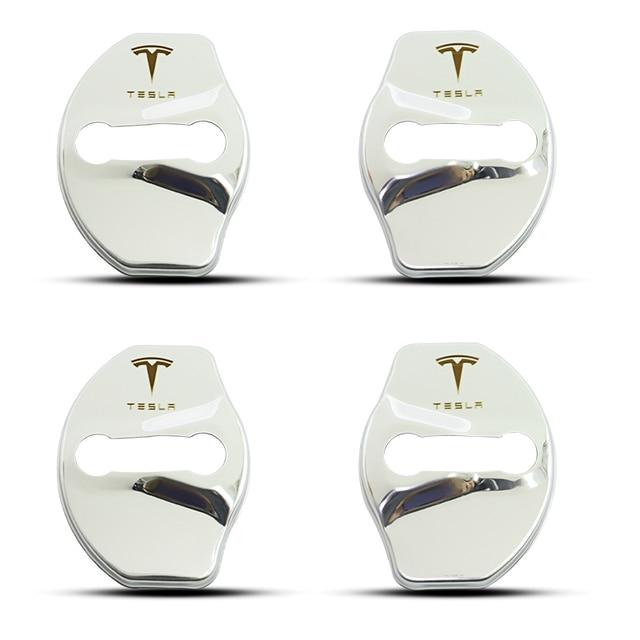 3D Car Door Lock Buckle cover Car stickers car accessories For tesla model 3 model X model y car decoration 2