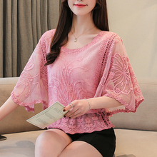 Full Cotton Sexy Edge Lace Blouses Shirt Butterfly Flower Half Sleeve Blouse O-Neck 2019 New Autumn Women Fashion 86F