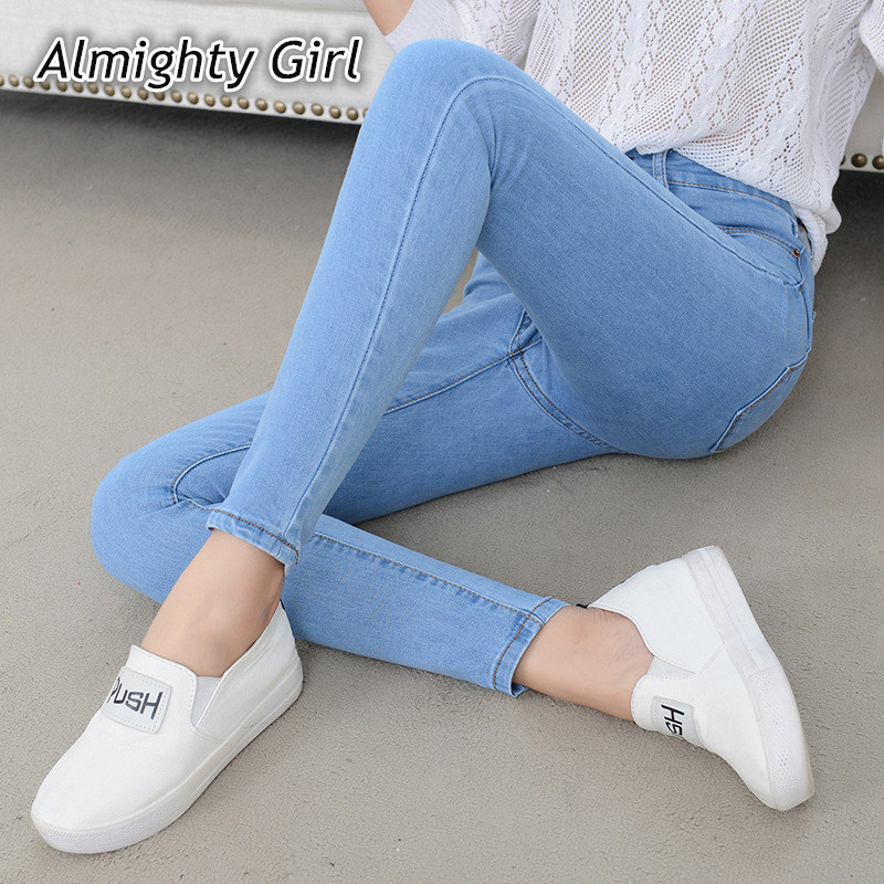 Denim Jeans Womens High Waist Stretch Pencil Skinny Ankle-length Pants Femme Black Blue Push Up 2019 Elastic Slim Streetwear0001 1