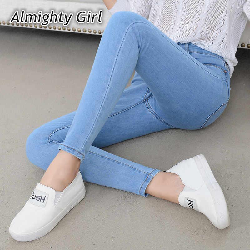 Denim Jeans Frauen Hohe Taille Stretch Bleistift Dünne Knöchel-länge Hosen Femme Schwarz Blau Push Up 2020 Elastische Dünne streetwear0001