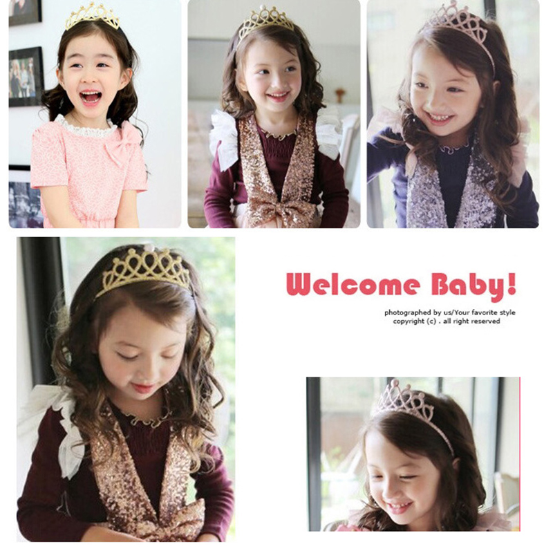 Baby Girl Hair Accessories Headband Hollow Out Glitter Rhinestone Tiara Crown Princess Birthday  Party Hair Band Accessories