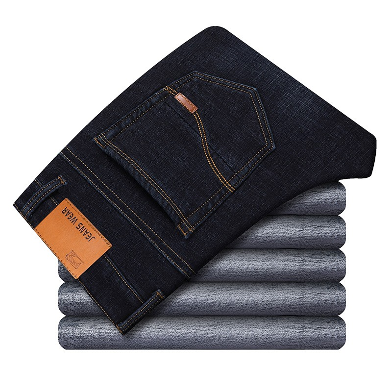 Winter Thermal Warm Flannel Stretch Jeans Mens Winter Quality Famous Brand Fleece Pants Men Straight Flocking Trousers Jean Male