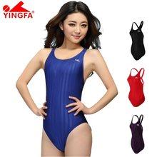 Yingfa fina aprovado profissional à prova dchlorine água cloro resistente roupa de banho feminino uma peça competição maiô menina