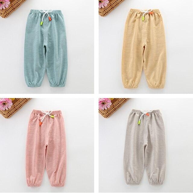 Per bambini Anti-Zanzara Pantaloni Primavera Estate Infantile Aria Condizionata Pantaloni Pantaloni Dei Ragazzi e Delle Ragazze Lanterna Pantaloni Del Bambino Casual 3