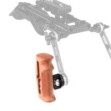 Kayulin empuñadura de madera ajustable con montaje de roseta, conexión de tornillo M6 de pulgar para Kit de jaula de cámara DLSR (a cualquier lado)