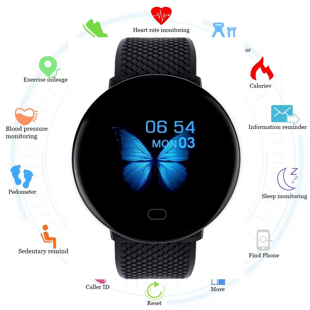 2020 New D19 Smart Watch Men Women Blood Pressure Round Smartwatch ...
