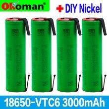 2021 nova vtc6 3.7v 3000mah 18650 li-ion bateria 30a descarga para us18650vtc6 ferramentas e-cigarro baterias + folhas de níquel diy