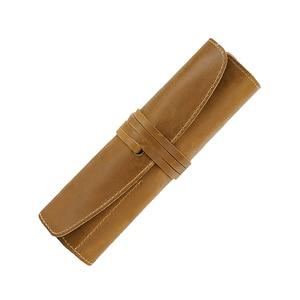 Image 1 - 100% en cuir véritable sac à crayons pochette de rangement Rollup stylo sac organisateur Wrap sac Vintage rétro créatif papeterie produit