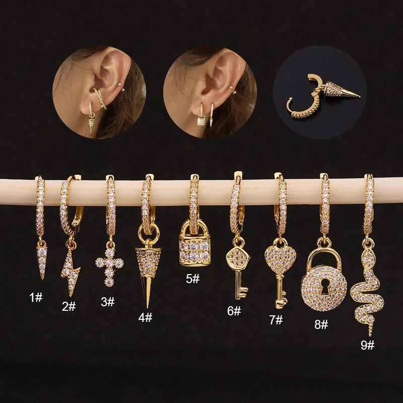 1Piece Lightning Cross Snake Dangle Earrings for Women 2021 Trend Jewelry Stainless Steel Plate Stud Earrings for Teens
