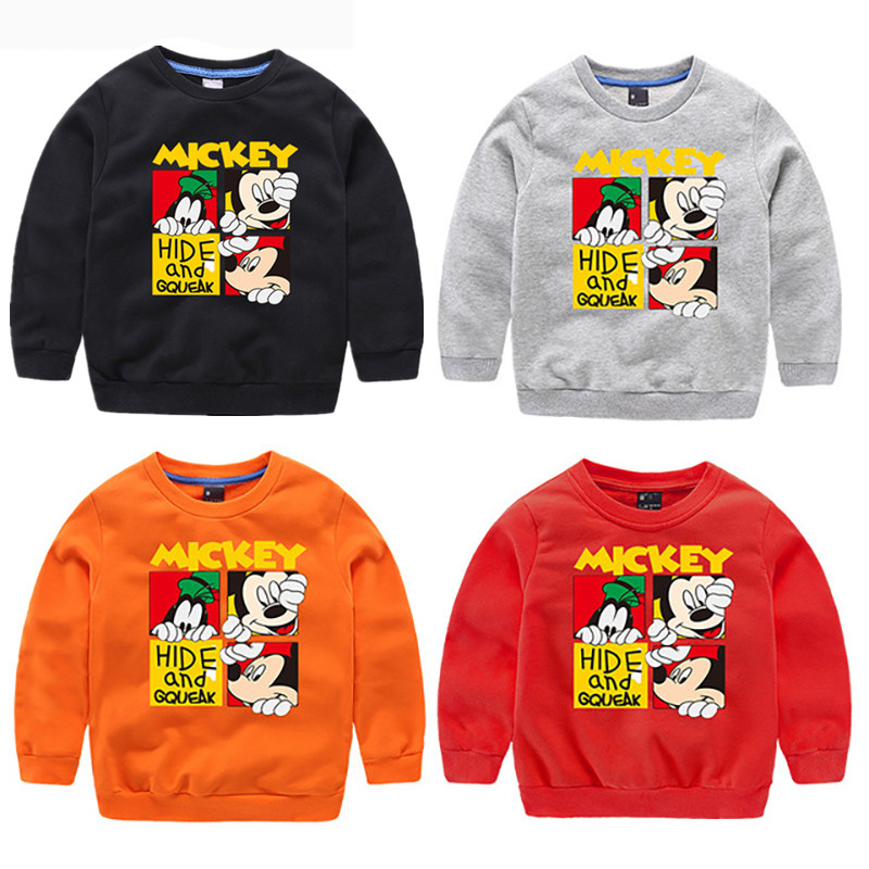 Girls Hoodies Sweatshirt Mickey Pullover Cartoon-Pattern Boys Kids Children Casual