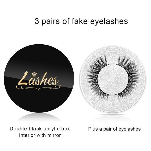 3 Pairs Magic False Eyelash Self-adhesive Lashes Eyeliner Mascara Eyelash Curler Set No Glue No Magnet Eyelash For Dropshipping 4