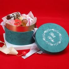 BZH031-Round фланелевая коробка Свадебная Упаковка Подарочная коробка конфет на свадьбу вечная Цветочная коробка бархатная коробка