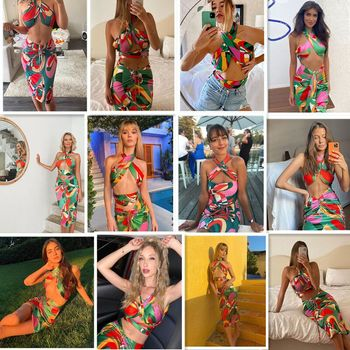 2021 Sexy Print Tracksuit Woman Two Piece Boho Outfit Suits Halter Bandage Tanks And Ruched Drawstring Midi Skirts Matching Sets 2