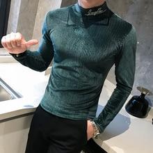 2020 Quality Men T-Shirt Autumn Winter Slim Stripe