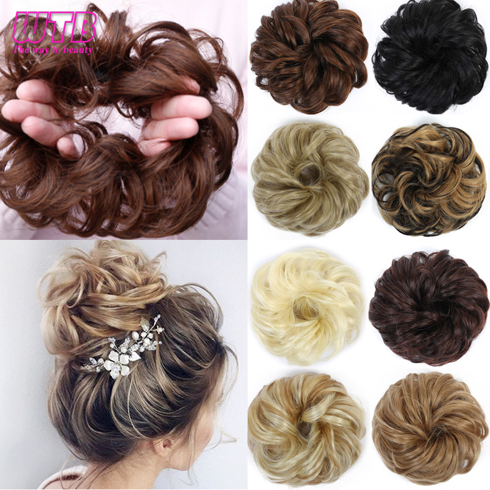 WTB Short Curly Messy Chignons For Women Heat Resistant Synthetic Elastic Rubber Band Hair Hairpieces Donut Hair Accessories