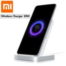Orijinal Xiaomi dikey hava soğutmalı kablosuz şarj cihazı 30W Max flaş şarj Xiaomi hızlı kablosuz şarj cep telefonu