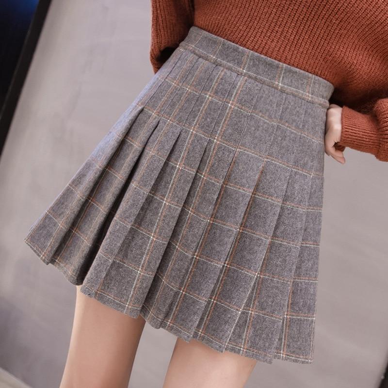 Photo Shoot 2019 Autumn And Winter New Style Korean-style Woolen Plaid Pleated Skirt Tutu Skirt College Style Short Skirt