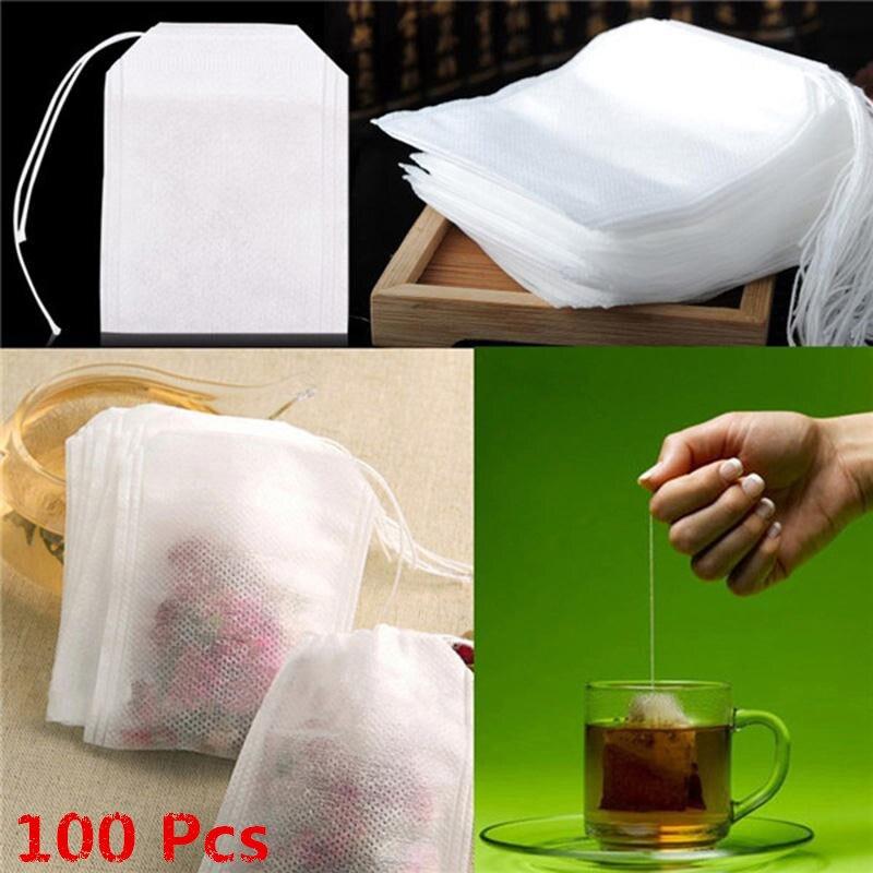 100pcs Disposable Tea Bags White Non Woven 5.5 X 7cm Filter Tea Green Tea Black Tea Scented Tea