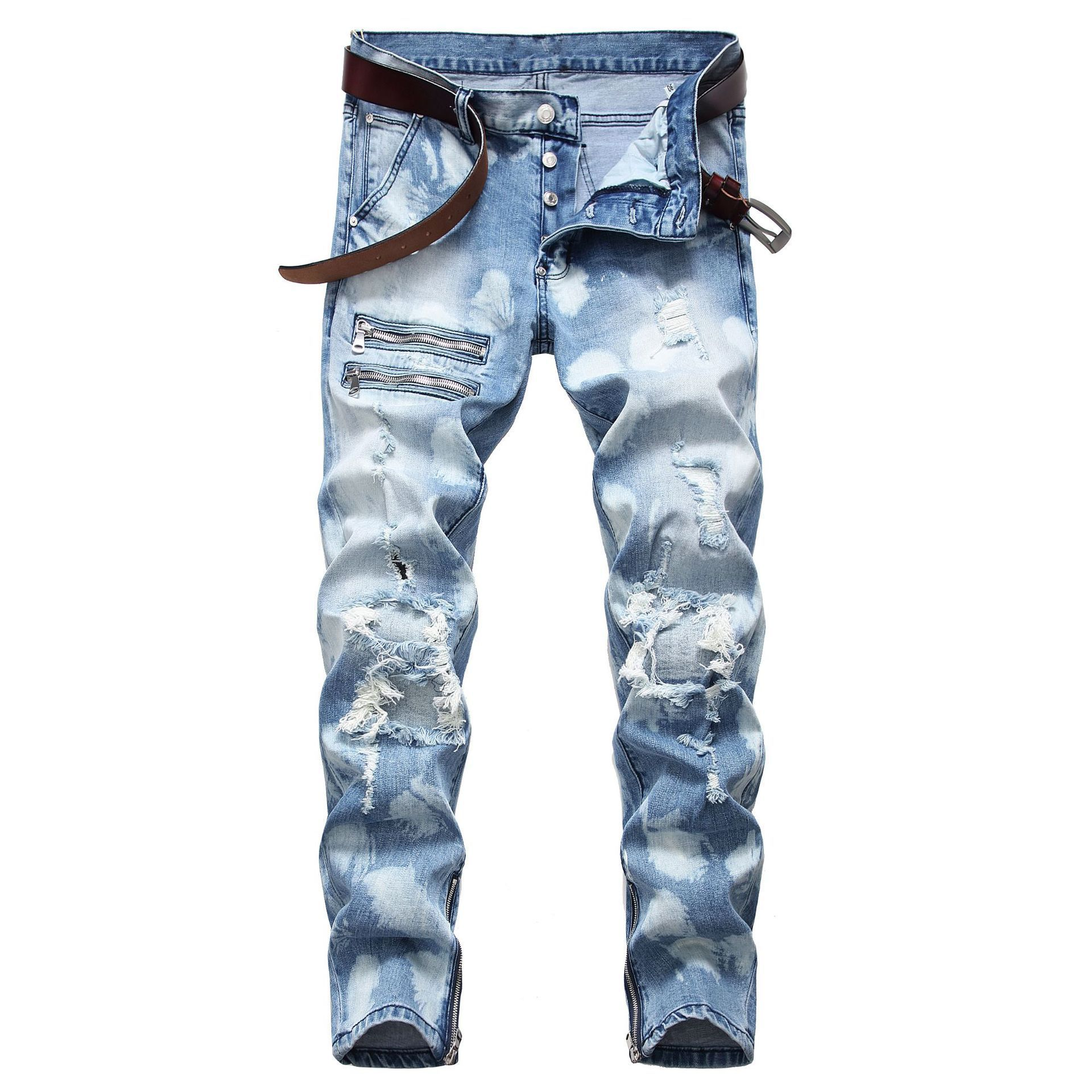 New Fashion Classic 2020 Men Ripped Jeans Biker Skinny Straight Denim Trousers Skinny Men Clothes