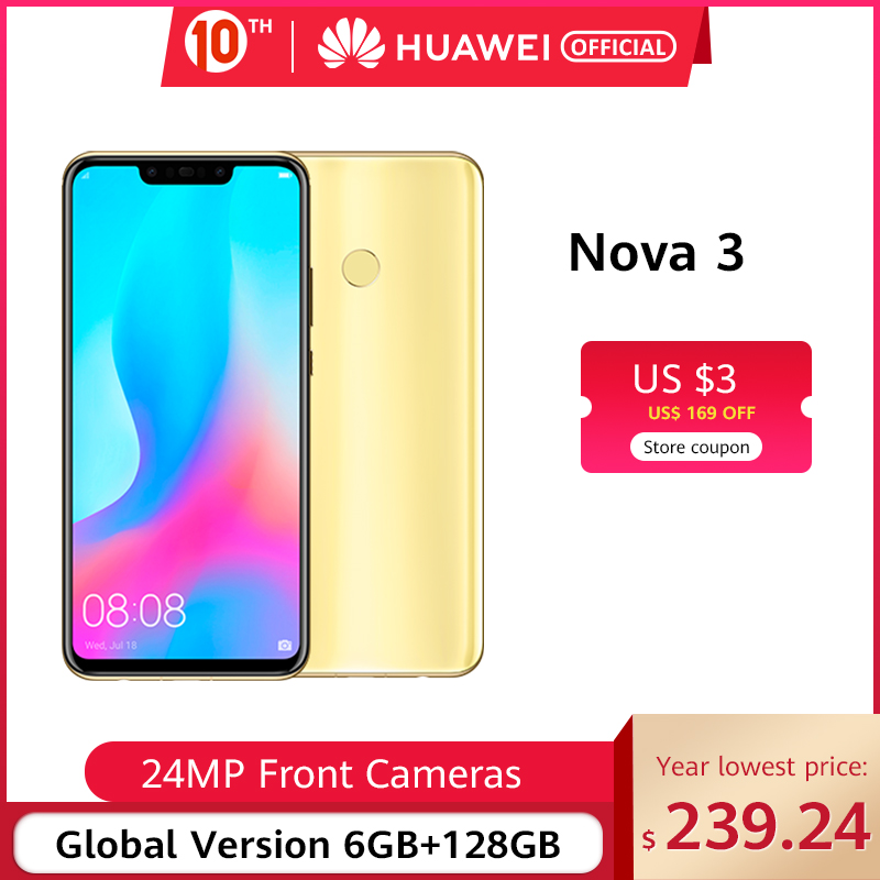 Global Version Huawei Nova 3 6GB 128GB Smartphone 24MP Dual Cameras 24MP Front Camera 6.3'' Full Screen Kirin 970 Android 8.1