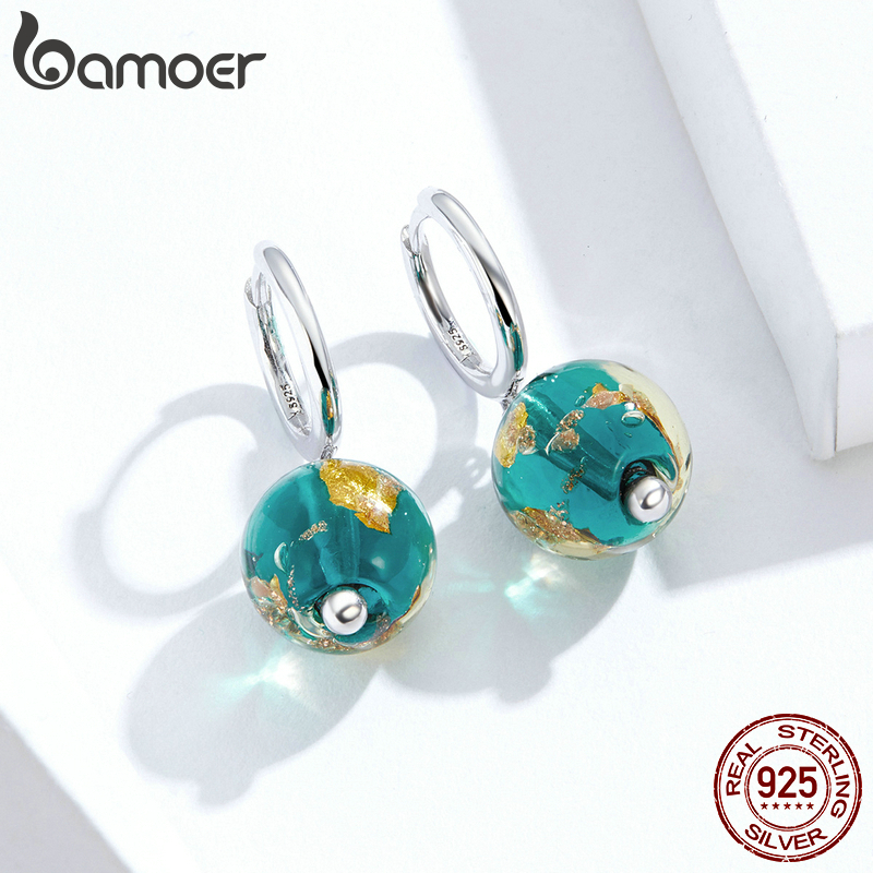 bamoer Genuine 925 Sterling Silver Fancy Glass Beads Drop Earrings for Women Exotic Dangle Earing Fashion Jewelry SCE817