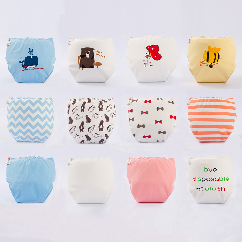 Newborn Waterproof Leakproof Diapers Cotton Baby Diaper Pants Breathable Cloth Diaper Baby Diaper Velcro Print Pocket Diapers