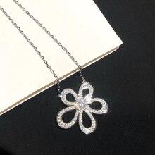 925-Sterling-Silver Jewelry Neckalce Clover Flower-Pendant Lotus-Flower Wedding Women