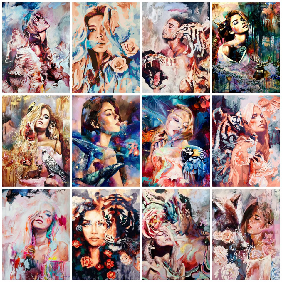 AZQSD DIY Animal Girls Arcylic Painting By Numbers On Canvas Unframed Wall Figure Pictures Art For Living Room Home Decoration