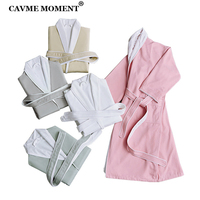 CAVME Luxury Winter Hotel Bathrobe Kimono Robes Unisex Long Robe Warm Bathrobes for Women Kimono Nightgown FREE SIZE Until 93KG