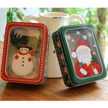 Cute Rectangle Christmas Gift Boxes Candy Tin Box Santa Snowman Packaging Open Window Cookie Packing Case Children Sweets Box(China)