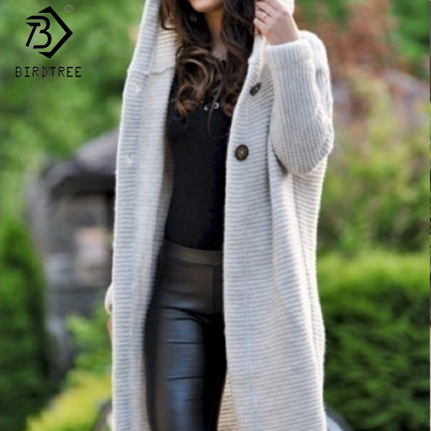 Plus Size 2019 Autumn New Women's Cardigan Solid Hooded Sweater Full Sleeve Casual Female Coat Knitting Long Sweater C99102K