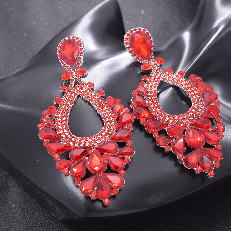 Big Size 11cm Red Color Rhinestone Girls Long Drop Earrings Women Bride Jewelry Accessories Decoations For Bridal