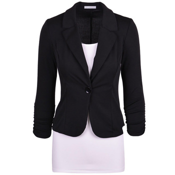 Women Slim Fit Solid Suit Jacket Coat Casual Office One Button Outwear Tops XRQ88