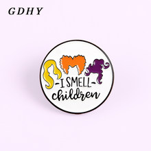 GDHY I Smell Children Round Enamel Pins Brooches Halloween Witch Badges For Kids Lapel Denim Clothes Bag Pins Gift Spille Bijoux(China)