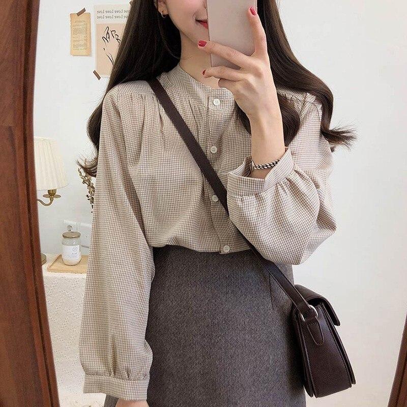 Women Blouses O-neck Long-sleeved Plaid Loose Cute Sweet Shirt Fashion Simple Temperament Casual Lantern Sleeve Blouse