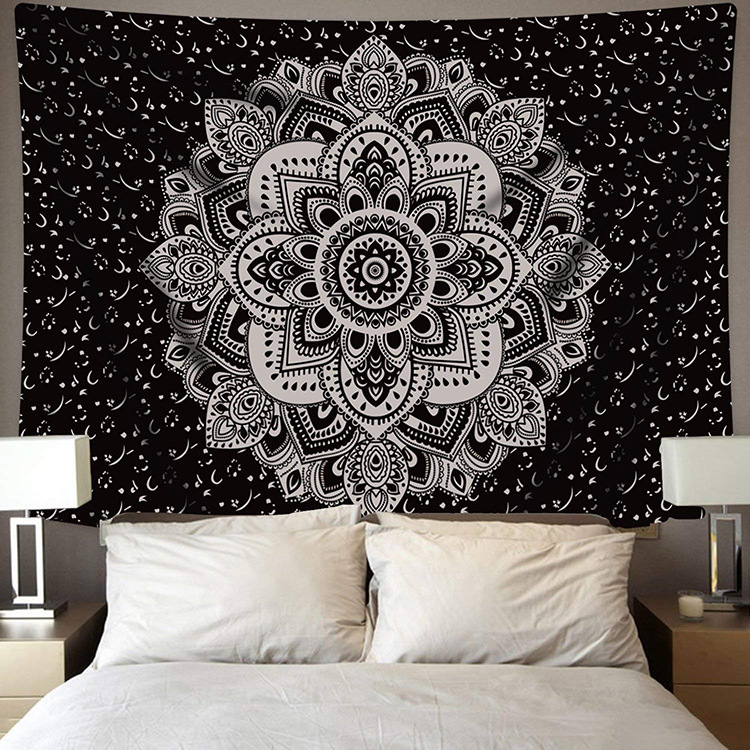 White Black Sun Moon Mandala Tapestry Wall Hanging Celestial Wall Tapestry Hippie Wall Carpets Dorm Decor