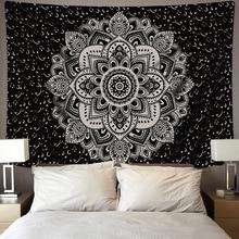 White Black Sun Moon Mandala Tapestry Wall Hanging Celestial Wall Tapestry Hippie Wall Carpets Dorm Decor