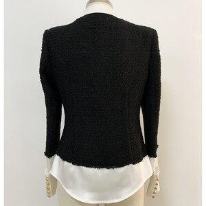 Image 3 - Chaqueta de diseñador de moda para mujer, Chaqueta con botones de León, mezcla de lana satinada, de retales de Tweed y, 2020