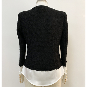 Image 3 - HIGH QUALITY 2020 Newest Fashion Designer Jacket Womens Lion Buttons Satin Wool Blend Patchwork Tweed Jacket