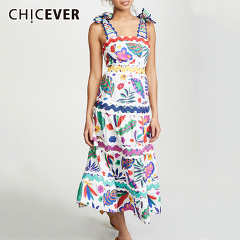 CHICEVER Vintage Bowknots Print Womens Dress Square Collar Spaghetti Strap Sleeveless High Waist Slim A-line Midi Dresses 2019