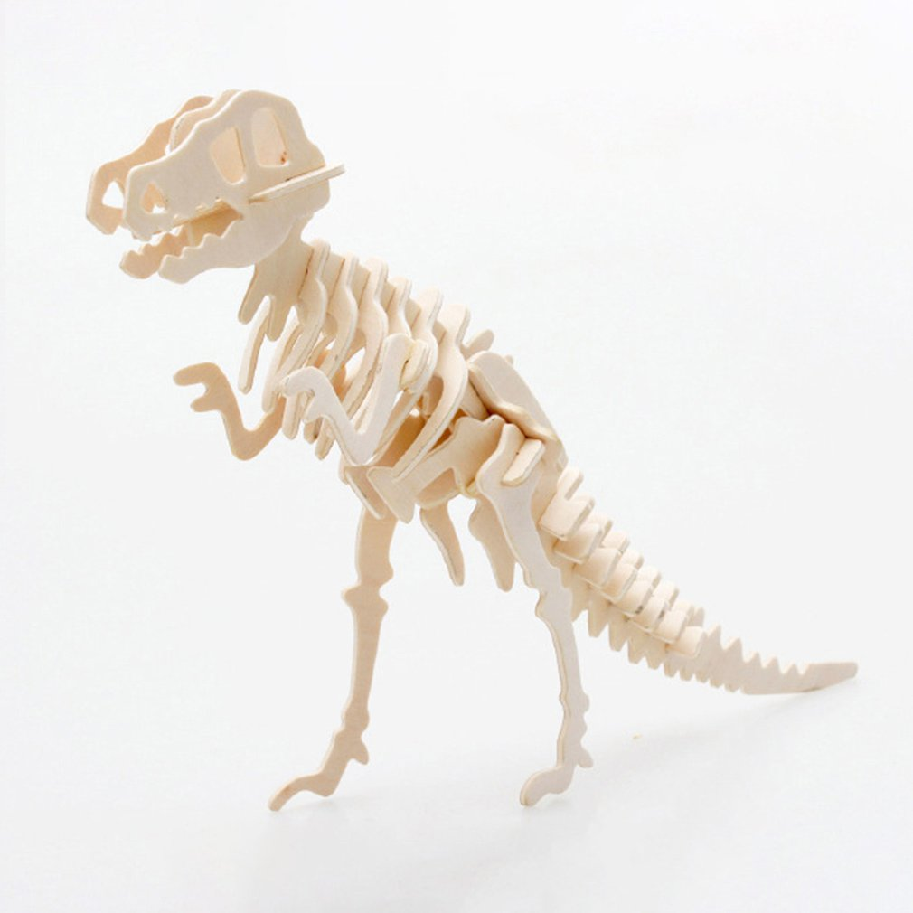 Non-toxic Wooden Animal Jigsaw Puzzle 3D Dinosaur DIY Assembled Toy Children Educational Toys Birthday Gift