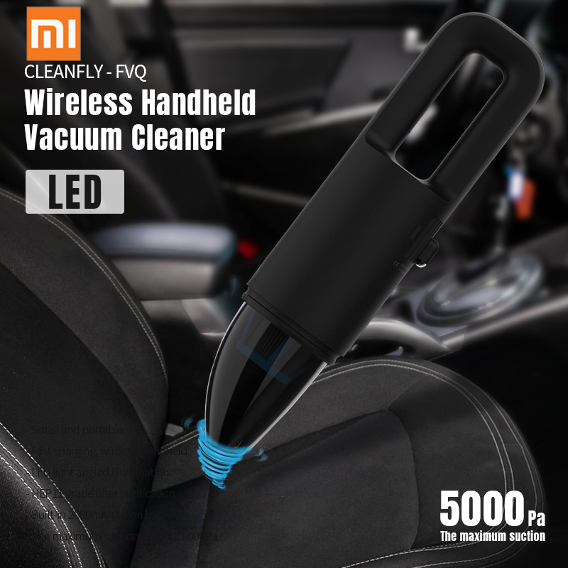 Xiaomi Cleanfly - FVQ Portable Wireless Handheld Vacuum Cleaner 2 In 1 Nozzle With LED Light Car Charger HEPA Filter From Youpin