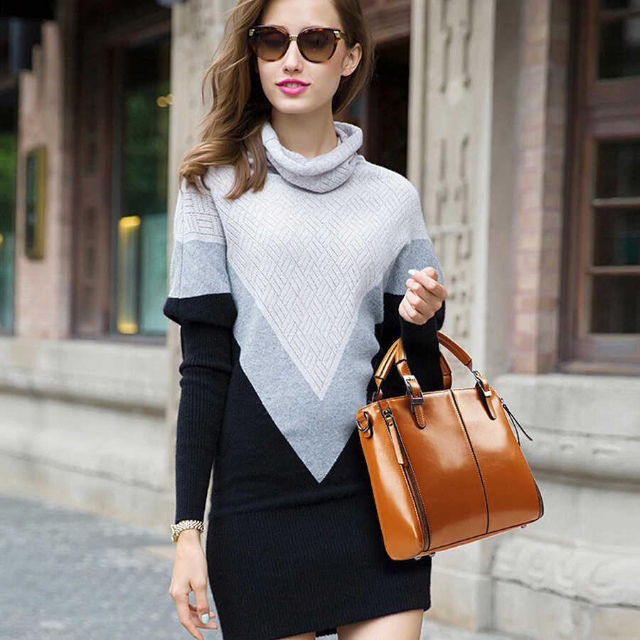 100% Hakiki deri Kadın çanta 2019 Yeni Moda Çanta Kahverengi Kadın Çanta Vintage askılı çanta Ofis Ladie Evrak Çantası
